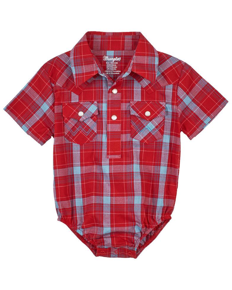 Wrangler Infant Boys' Red Plaid Short Sleeve Snap Western Onesie , Red, hi-res