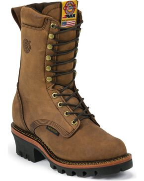 "Justin Men's J-Max Waterproof 10"" Lace-Up Work Boots, Aged Bark, hi-res"