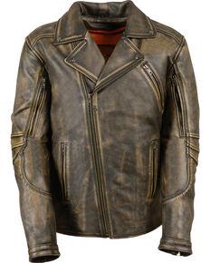 Milwaukee Leather Men's Triple Stitch Extra Long Biker Jacket - 4X , Black/tan, hi-res