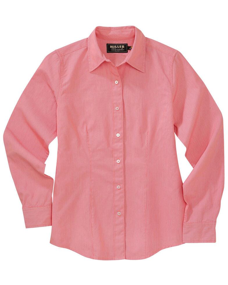 Miller Ranch Women's Pink Dobby Stripe Dress Shirt, Coral, hi-res
