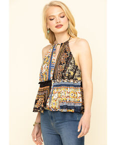 Free People Women's Bellini Patchwork Halter Top, Black, hi-res
