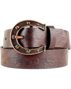 Ariat Women's Horseshoe Belt, Chocolate, hi-res