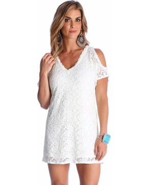 Wrangler Women's Ivory Cold Shoulder Lace Dress , Ivory, hi-res