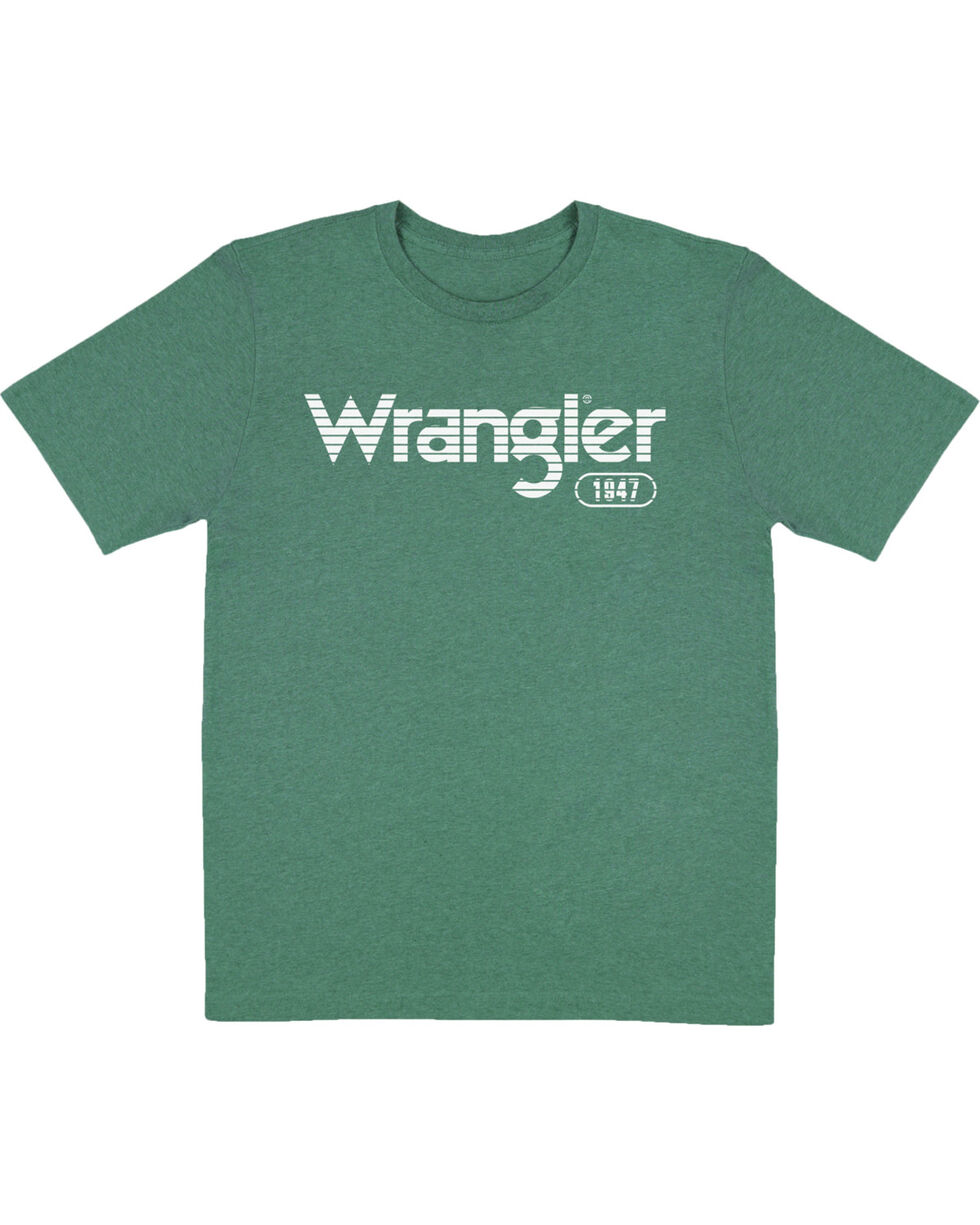 Wrangler Boys' Green Striped Logo Tee , Green, hi-res