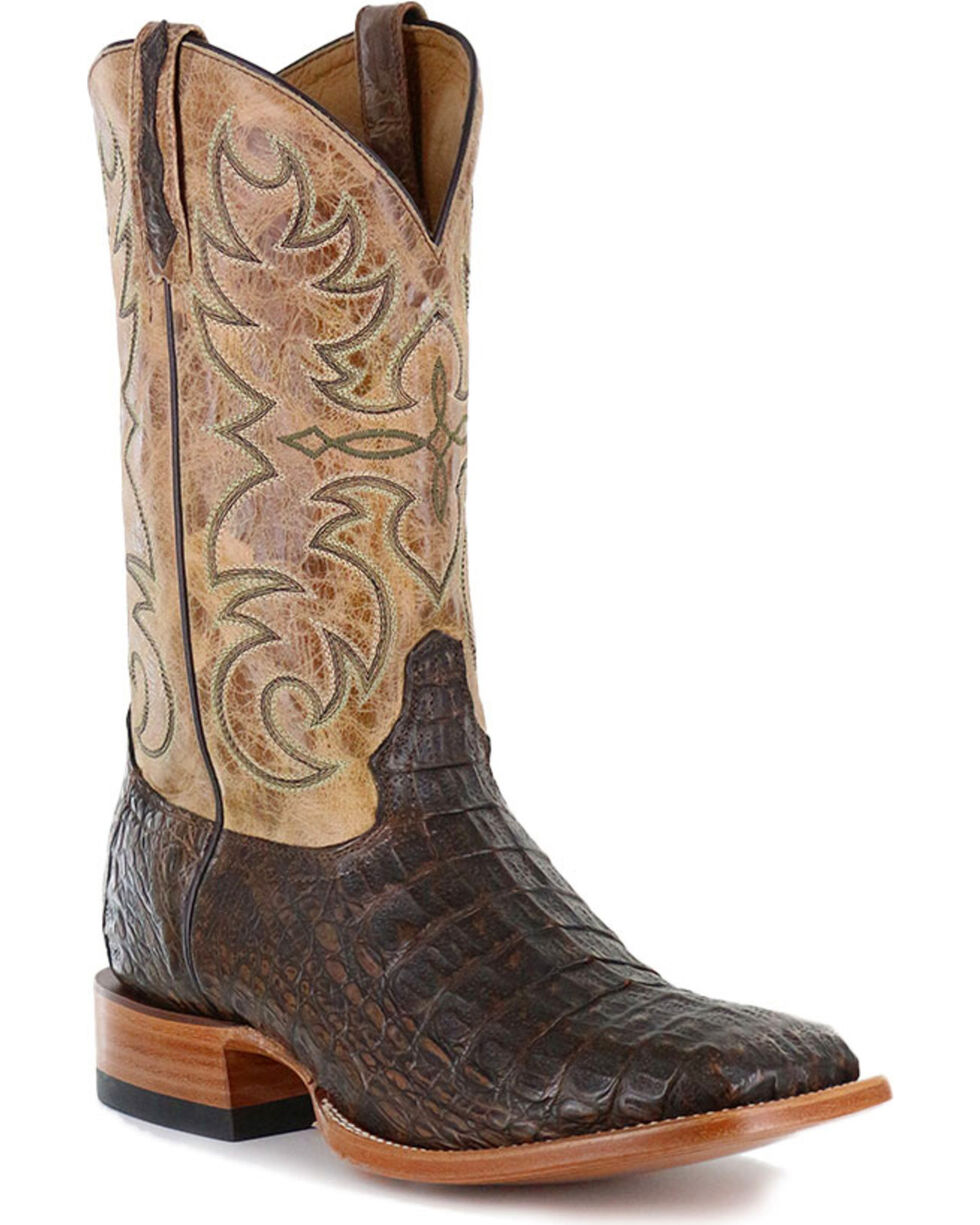 Cody James® Men's Crackled Caiman Exotic Boots, Brown, hi-res