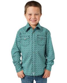Wrangler 20X Boys' Advanced Comfort Green Geo Print Long Sleeve Western Shirt , Green, hi-res