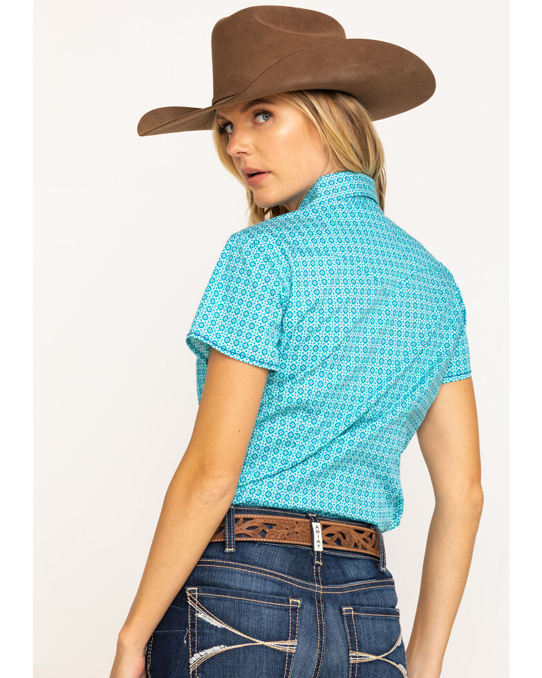 Rough Stock by Panhandle Women's Turquoise Layton Antique Print Short Sleeve Western Shirt , Turquoise, hi-res