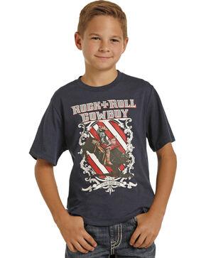 Rock & Roll Cowboy Boys' Rodeo Graphic Tee, Navy, hi-res