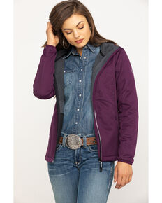 Roper Women's Purple Bonded Fleece Hooded Jacket , Purple, hi-res