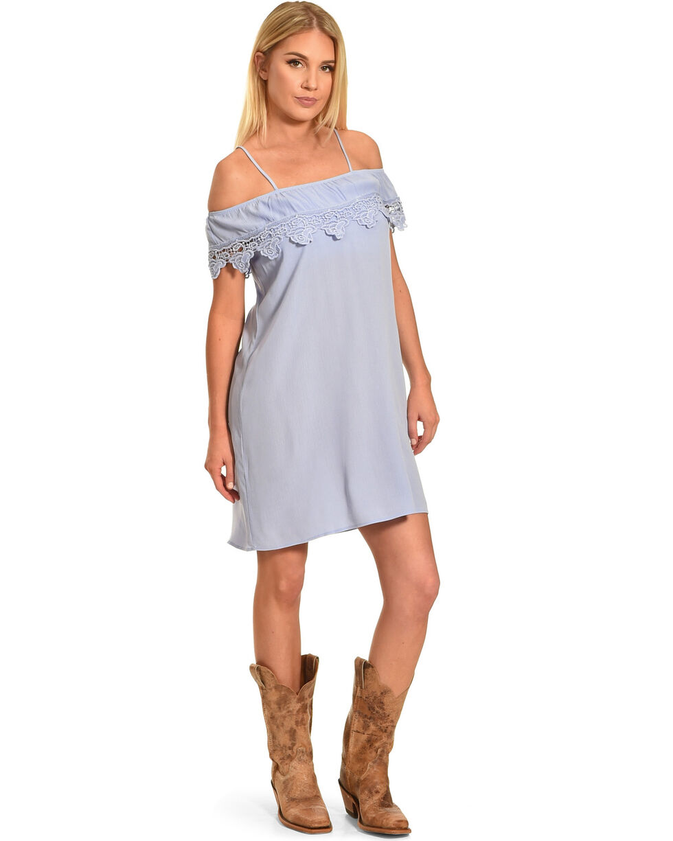 Jody of California Women's Lace Trim Cold Shoulder Dress, Blue, hi-res