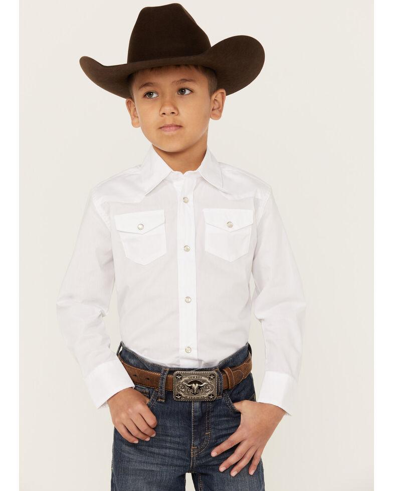 Wrangler Boy's Dress Western Solid Snap Shirt, White, hi-res