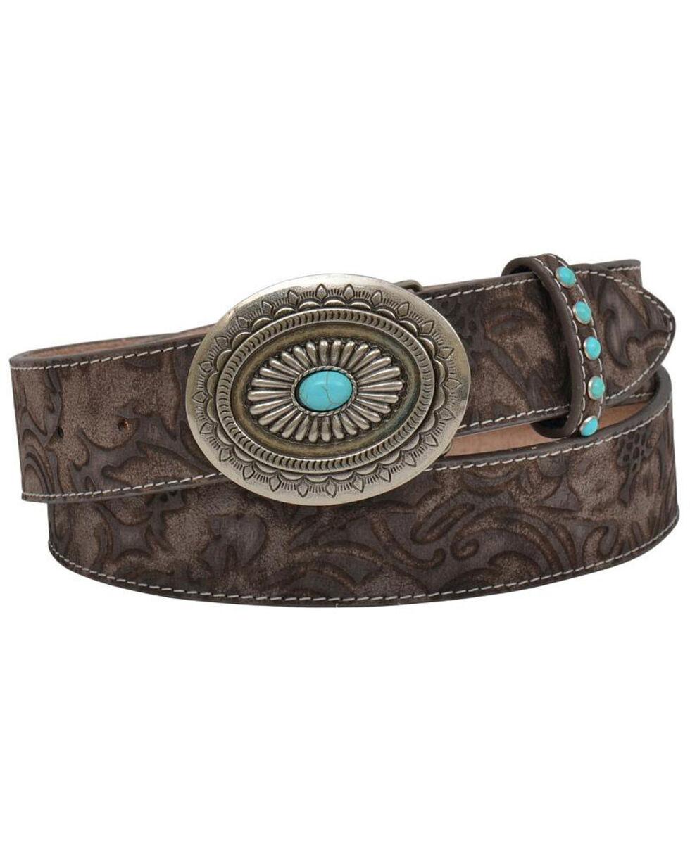 Shyanne Women's Tan Floral Print Leather Belt , Tan, hi-res