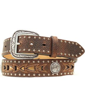 Nocona Fancy Cutout & Concho Belt, Brown, hi-res