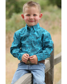 Cinch Infant Boys' Teal Paisley Print Button Long Sleeve Western Shirt , Teal, hi-res