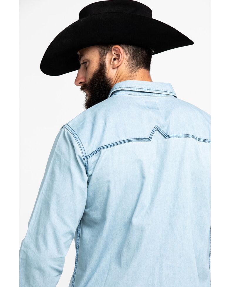 Moonshine Spirit Men's Chumash Washed Denim Long Sleeve Western Shirt , Indigo, hi-res