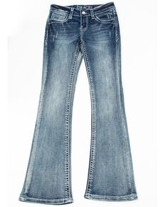 Grace in LA Girls' Arrow Pocket Bootcut Jeans, Blue, hi-res