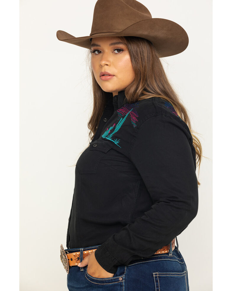 Rough Stock by Panhandle Women's Scenic Embroidered Long Sleeve Western Shirt - Plus, Black, hi-res