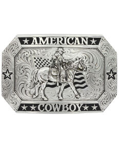 Montana Silversmiths Men's Antiqued American Cowboy Buckle With Riding For The Brand Figure, Silver, hi-res