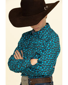 Cody James Boys' High Sierra Floral Print Long Sleeve Western Shirt , Royal Blue, hi-res