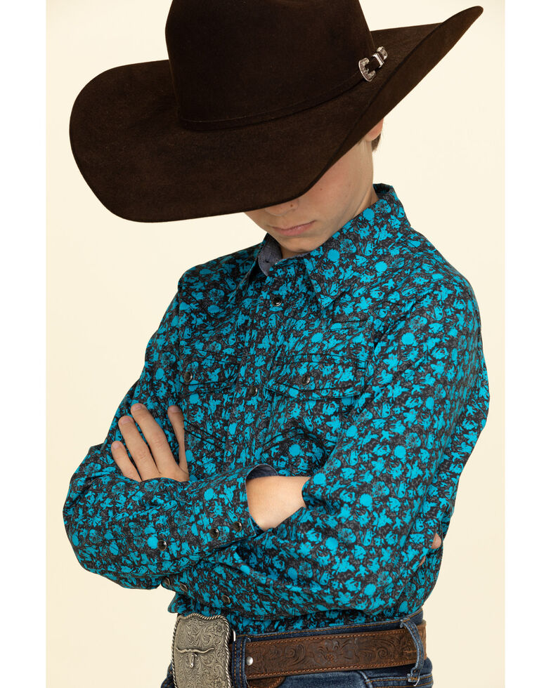 Cody James Boys' High Sierra Floral Print Long Sleeve Western Shirt , Royal Blue, hi-res