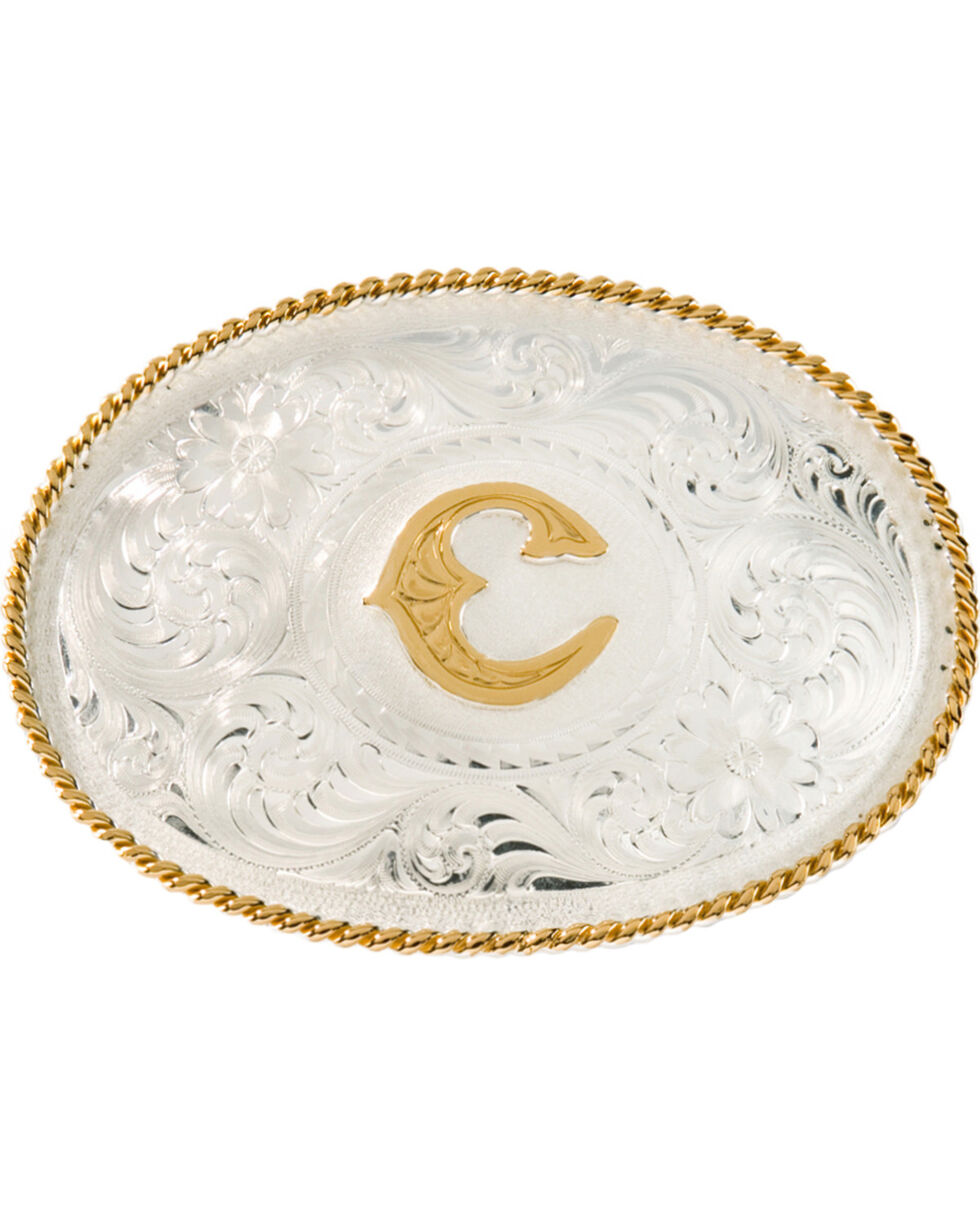 Montana Silversmiths Initial C Western Buckle, Silver, hi-res