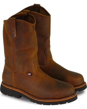"Thorogood Men's 10"" American Heritage Wellington Work Boots - Steel Toe, Brown, hi-res"