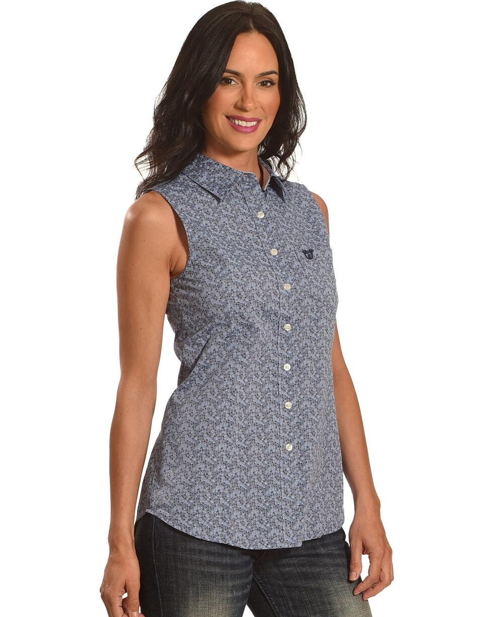 Shyanne® Women's Floral Tank Shirt, Blue, hi-res