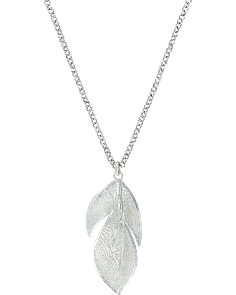 Montana Silversmiths Women's Floating Feather Necklace , Silver, hi-res