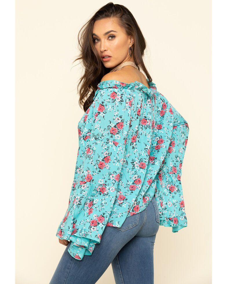 Red Label by Panhandle Women's Turquoise Print Bell Sleeve Top , Turquoise, hi-res
