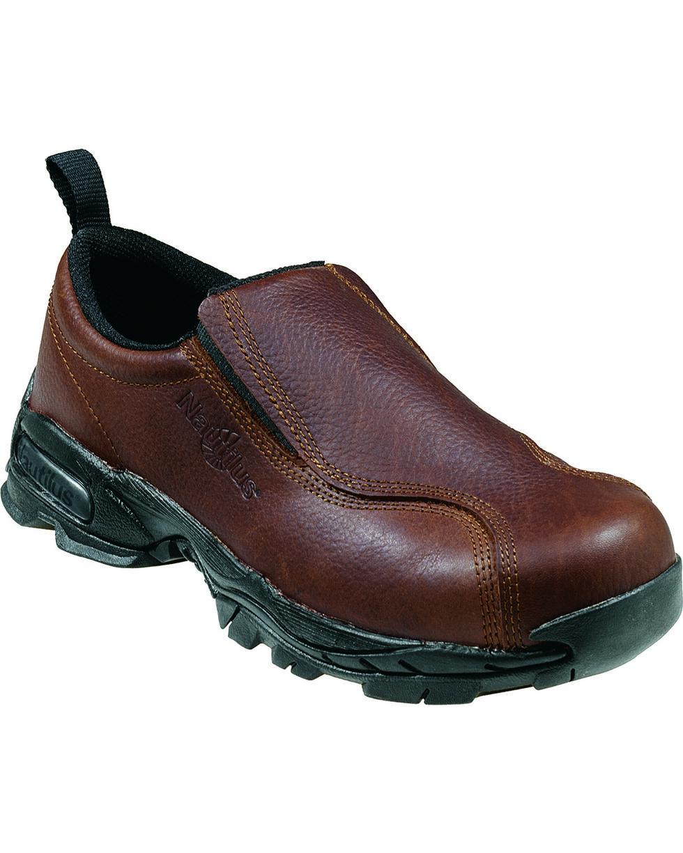 Nautilus Men's Slip-On Steel Toe ESD Work Shoes, Brown, hi-res