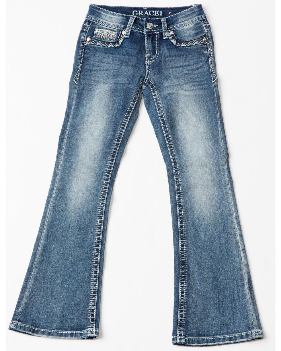 Grace In LA Girls' Aztec Diamond Medallion Pocket Boot Jeans , Indigo, hi-res
