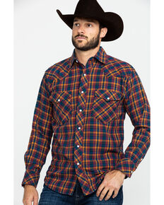 Resistol Men's Granbury Med Plaid Long Sleeve Western Shirt , Red, hi-res