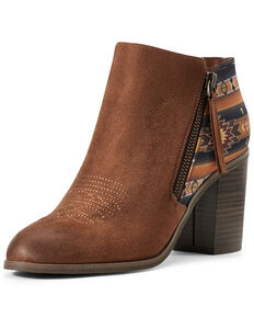 Ariat Women's Cognac Unbridled Kaylee Aztec Fashion Booties - Round Toe, Brown, hi-res