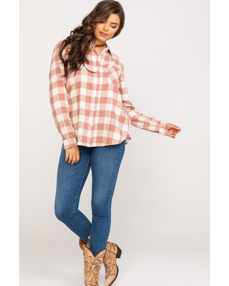 Wrangler Women's Dust Boyfriend Fit Flannel Long Sleeve Shirt, Pink, hi-res