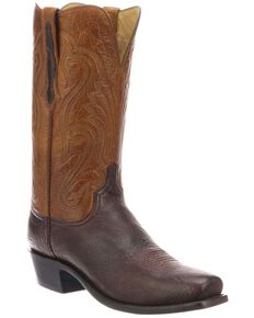 Lucchese Men's Estes Exotic Elk Western Boots - Square Toe, Chocolate, hi-res
