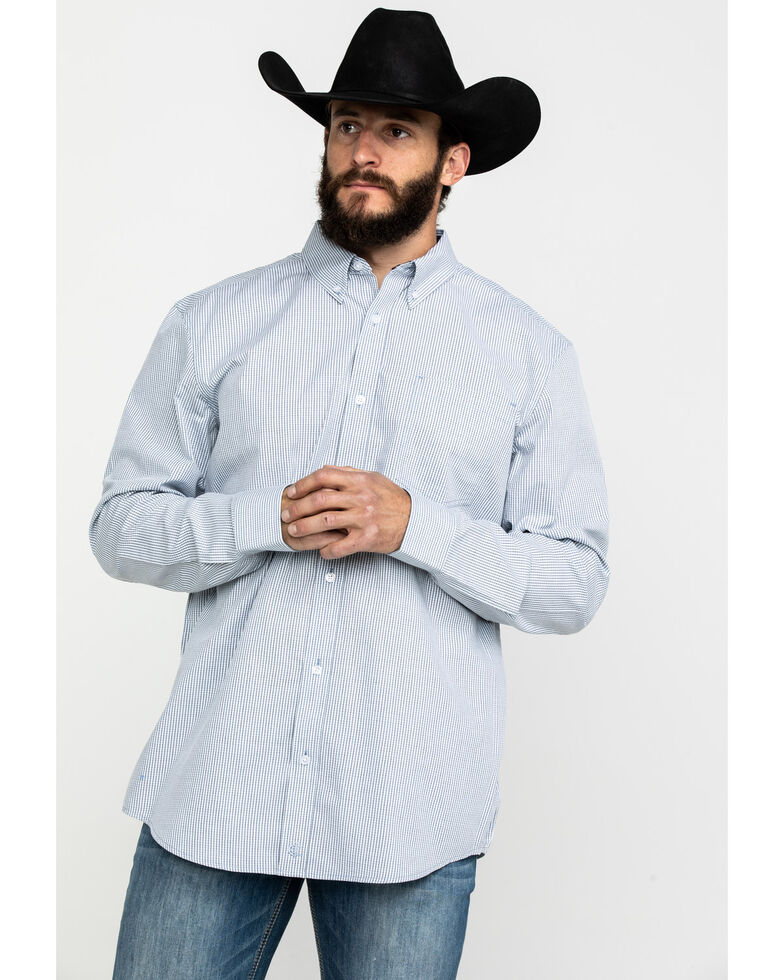Cody James Core Men's East Fork Plaid Long Sleeve Western Shirt, Blue, hi-res