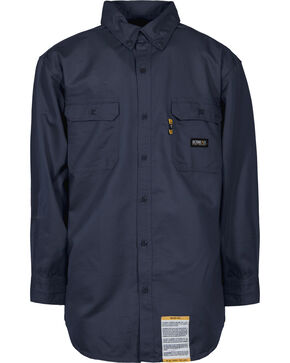 Berne Flame Resistant Button Down Work Shirt - 3XT and 4XT, Navy, hi-res