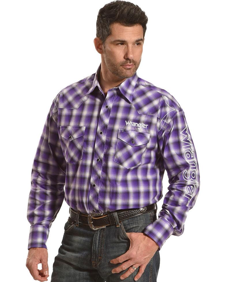 Wrangler Men's Purple Plaid Logo Long Sleeve Western Shirt , Purple, hi-res