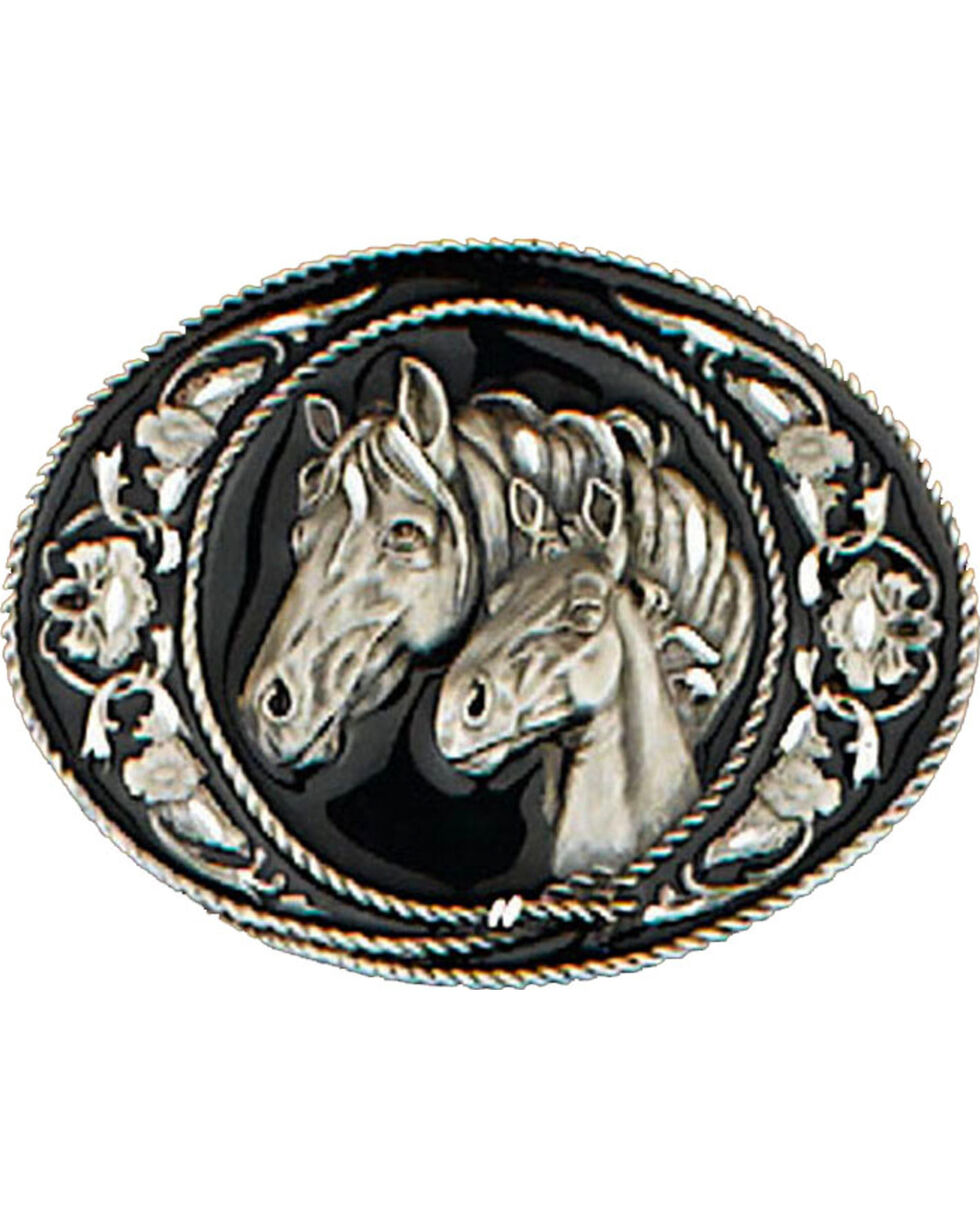 Western Express Men's Black Horseheads Belt Buckle, Black, hi-res