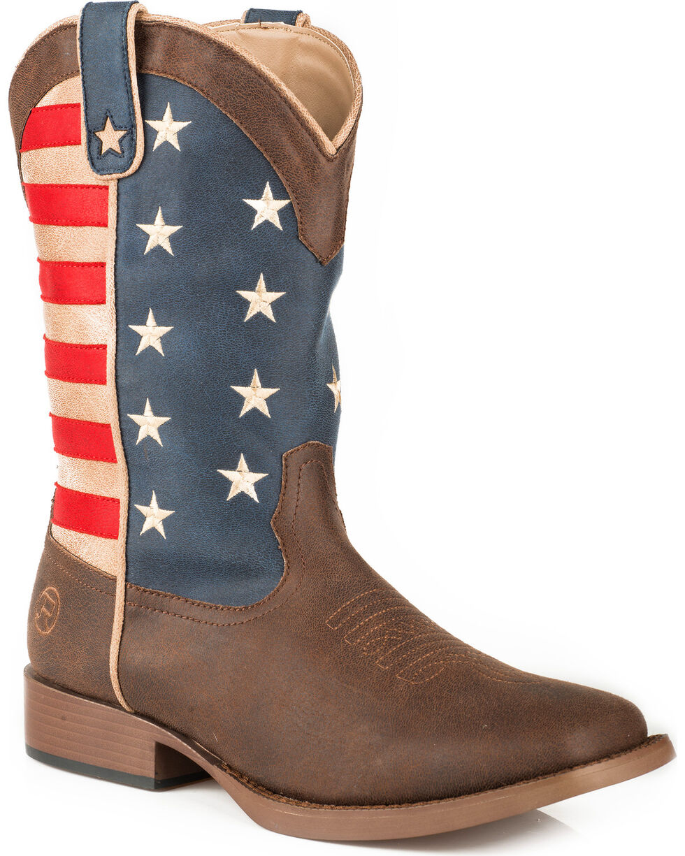 Roper Youth American Patriot Western Boots - Square Toe , Brown, hi-res