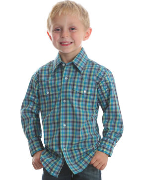 Wrangler Boys' Turquoise Wrinkle Resistant Western Shirt , Turquoise, hi-res