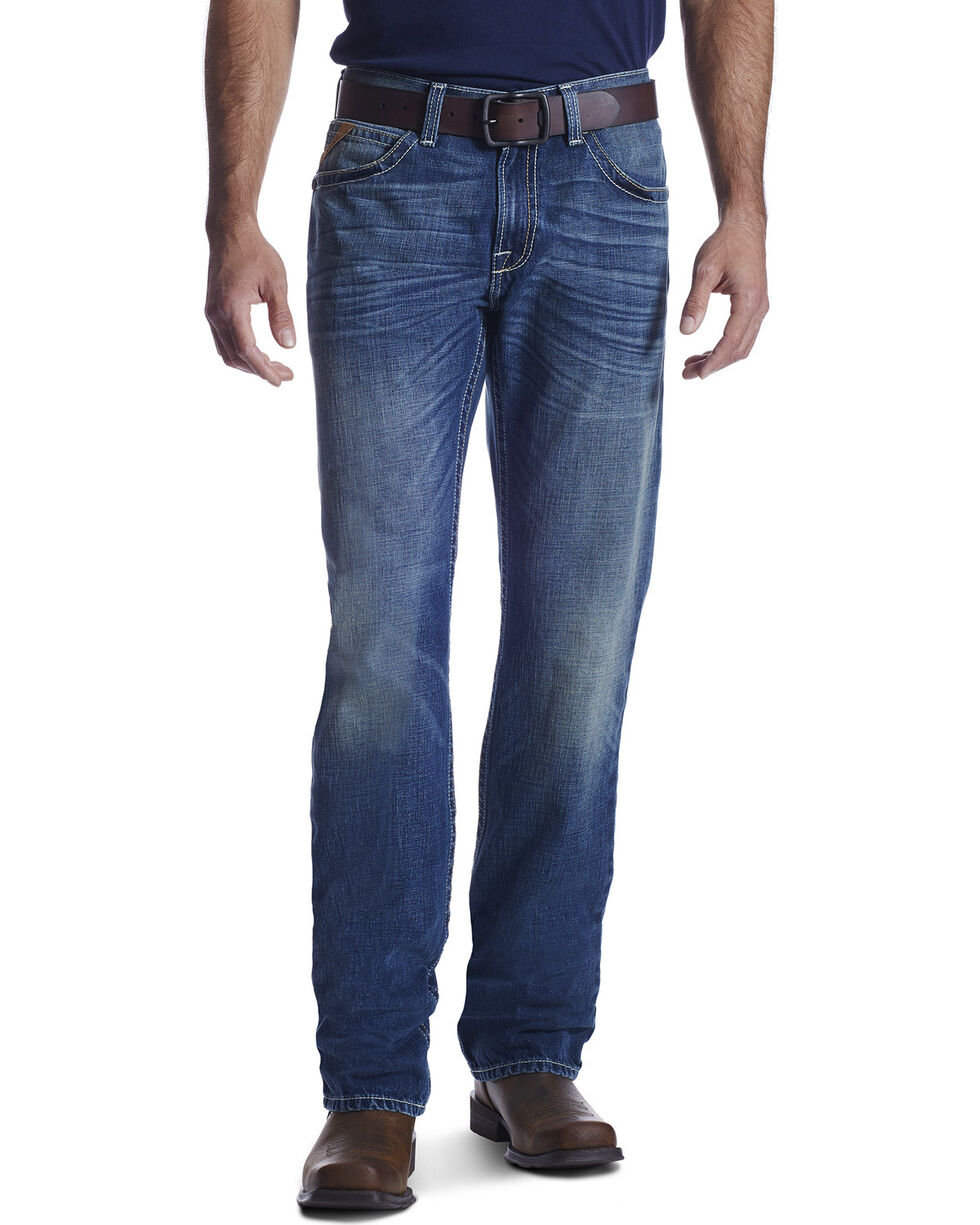Ariat Men's M2 Kingston Relaxed Boot Cut Jeans, Med Blue, hi-res