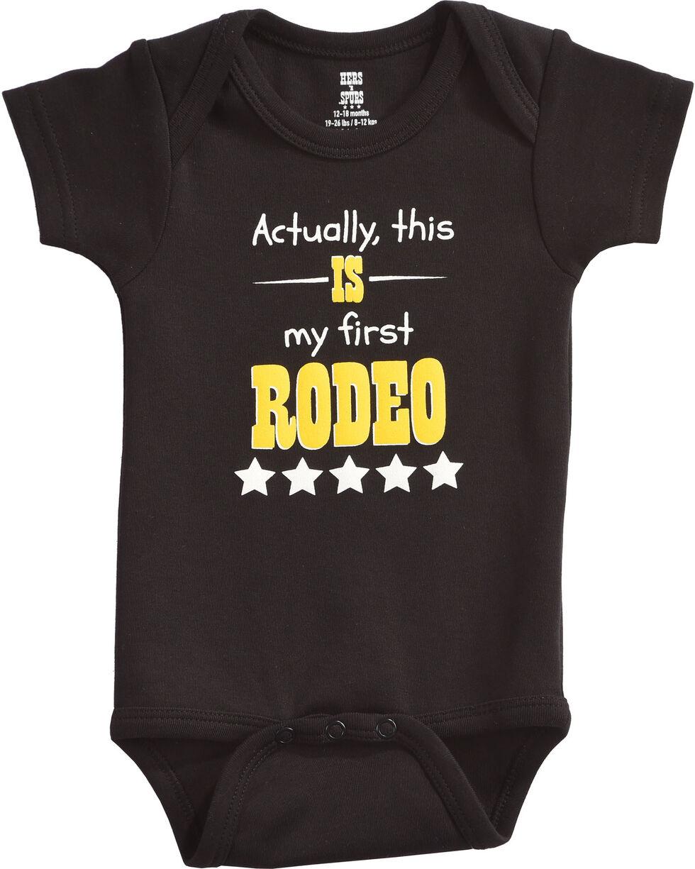 "Hers 'N Spurs Infant's ""First Rodeo"" Onesie, Black, hi-res"
