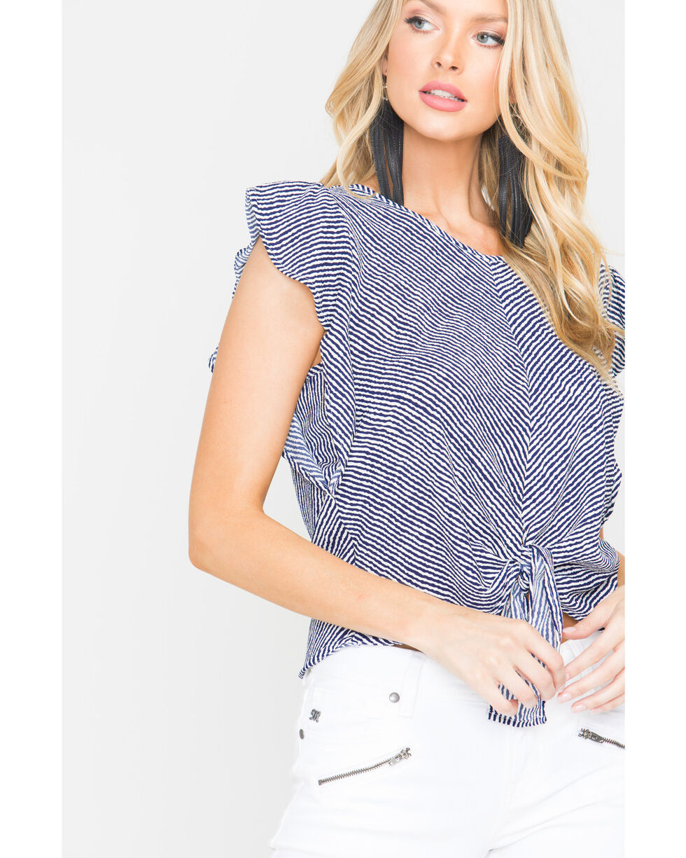 Panhandle Women's Striped Flutter Sleeve Top, Navy, hi-res