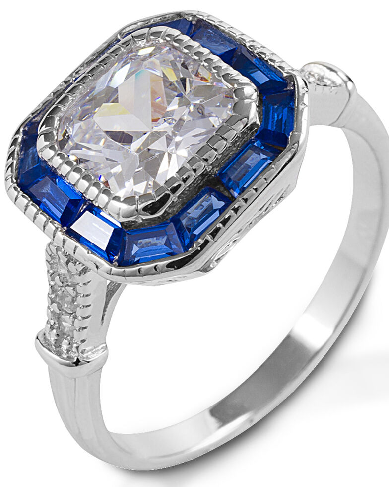 Kelly Herd Women's Small Asscher Cut Blue Spinel Ring , Silver, hi-res