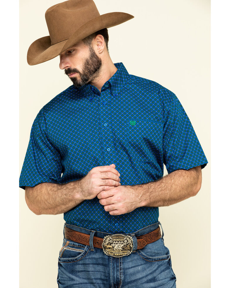 Cinch Men's Royal Blue Geo Print Short Sleeve Western Shirt , Blue, hi-res
