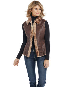 Cripple Creek Women's Open Front Faux Shearling Vest, Chestnut, hi-res