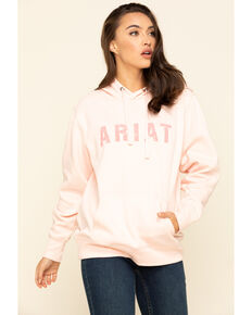 Ariat Women's Blush Logo Hoodie Sweatshirt , Blush, hi-res