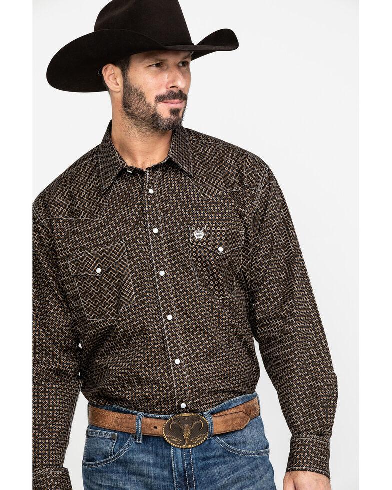 Cinch Men's Khaki Geo Print Snap Long Sleeve Western Shirt , Beige/khaki, hi-res
