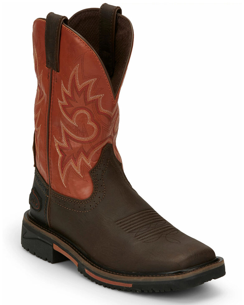 Justin Men's Joist Western Work Boots - Soft Toe, Brown, hi-res